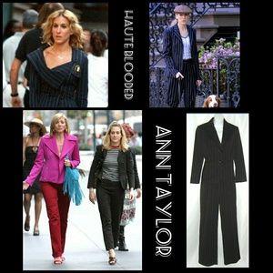 Ann Taylor Wool Suit Brown Pink Stripes Street